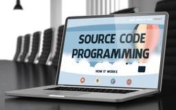 编程在膝上型计算机的原始代码在会场 3d 免版税库存图片