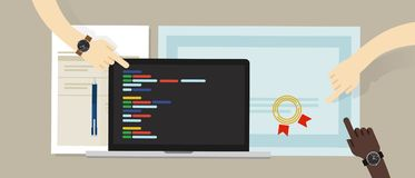 编程的技巧认可与膝上型计算机和编码app剧本软件程序的证明 教育技巧 库存图片