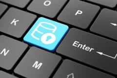 编程的概念:与锁的数据库在键盘背景 免版税库存照片