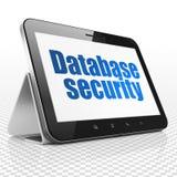 编程的概念:片剂计算机以在显示的数据库安全 库存照片