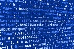 编程的编制程序原始代码屏幕 免版税库存照片