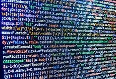 编程的编制程序原始代码屏幕 免版税库存图片