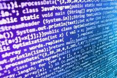 编程的编制程序原始代码屏幕 免版税图库摄影