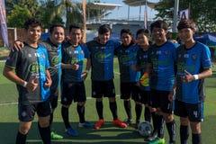 编组参加比赛的愉快的柬埔寨球员摄影  库存图片
