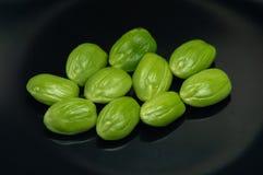 编组Parkia从印度尼西亚的speciosa豆在黑背景隔绝了 免版税图库摄影