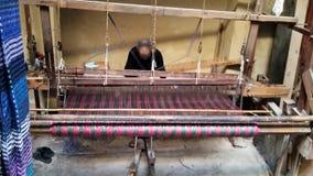 编织与基本的织布机的仙人掌丝织物 股票录像