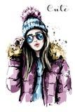 编织帽子的手拉的美丽的少妇 塑造太阳镜妇女 时髦的女孩 库存例证