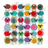 编织的纱线球和绵羊 图库摄影
