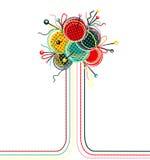 编织的纱线球抽象构成 免版税库存图片