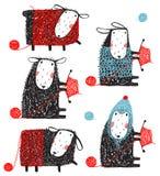 编织的诡计多端的绵羊杂文动画片收藏 库存图片