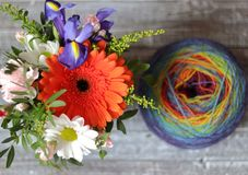 编织的颜色毛线 库存图片