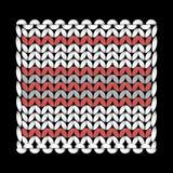 编织 一个被编织的样式,热的立场,方形,纹理使成环 工艺品,手工制造 业余爱好 黑色背景 皇族释放例证