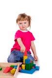 编译与多维数据集的小女孩一座城堡 图库摄影