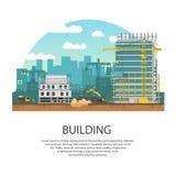 编译现代 倾吐混凝土的过程 传染媒介横幅建筑和concreting 免版税图库摄影