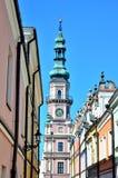 编译的外部有历史 大厦城市圆柱状大厅匈牙利 免版税库存图片