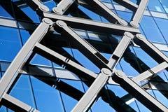 编译的未来派玻璃现代办公室墙壁 免版税库存照片