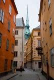 编译的老斯德哥尔摩瑞典城镇 库存图片