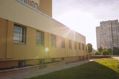 编译的被画的现有量医院例证向量白色 行政大厦在利沃夫州 免版税库存照片