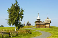 1928年编译的kizhi北部俄国俄国传统村庄风车 库存图片