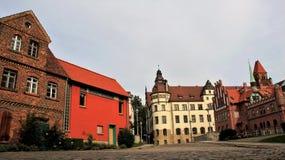 编译老 老镇历史的城市在科特布斯德国 库存照片