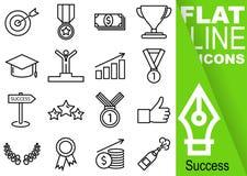 编辑可能的冲程70x70映象点 简单的套与垂直的绿色横幅的成功传染媒介十六平的线象-目标,奖牌,金钱, 库存照片