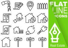 编辑可能的冲程70x70映象点 简单的套与垂直的绿色横幅的房地产传染媒介十六平的线象-钥匙,合同, 库存图片