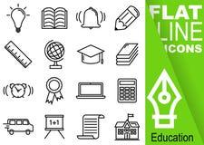 编辑可能的冲程70x70映象点 简单的套与垂直的绿色横幅-电灯泡,作业簿, b的教育传染媒介十六平的线象 免版税库存图片