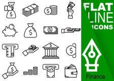 编辑可能的冲程70x70映象点 简单的套与垂直的绿色横幅-钱包,钞票, co的财务传染媒介十六平的线象 库存照片