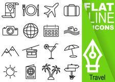 编辑可能的冲程70x70映象点 简单的套与垂直的绿色横幅-地图,食物,飞机的旅行传染媒介十六平的线象, 库存例证