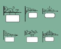 编辑可能的垂悬的标志和横幅在葡萄酒样式 免版税库存图片
