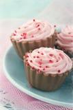 编辑在桃红色巧克力杯形蛋糕的葡萄酒 库存图片
