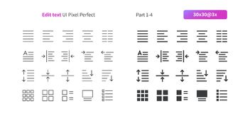 编辑文本UI映象点完善的认真草拟的传染媒介稀薄的线和坚实象30 3x栅格网图表和阿普斯的 免版税库存图片