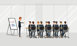 编组商人配合会议和突发的灵感概念 小组在队的企业介绍 向量例证