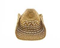 编织在白色背景隔绝的帽子,牛仔帽 免版税库存图片