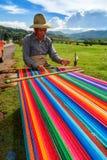 编织在秘鲁安地斯的人在普诺的秘鲁Taquile海岛在janury 2th, 2008年 库存图片