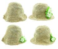 编织有在白色背景隔绝的花的帽子 图库摄影
