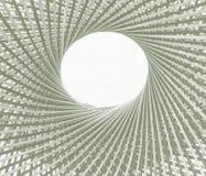 编织样式圈子并且在竹背景中间钻孔 库存图片