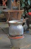 编织的古老手纺车 免版税图库摄影