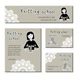 编织的学校的,毛线商店黑白的卡片模板 平的象织毛衣者女孩 套名片的模板 免版税库存照片