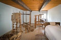 编织的车间在遗产公园,波兰XIXth世纪 免版税库存照片