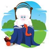 编织袜子的老绵羊 免版税库存图片