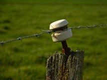 绝缘物,从老电篱芭的细节在草甸附近 库存照片