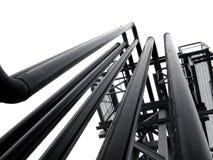 缚住设备管道系统的工厂 免版税图库摄影