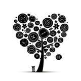 缝合充满爱,与按钮的树 您的设计的剪影 免版税库存照片