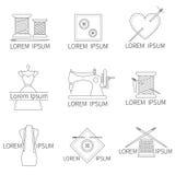 缝合和刺绣用品图标 免版税库存照片