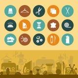 缝合和针线象和横幅 免版税图库摄影
