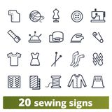 缝合的和编织的时尚工作室象集合 向量例证