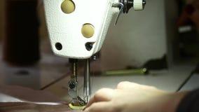 缝合的工厂 大师缝合在缝纫机的衣裳 股票录像