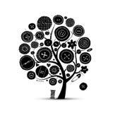 缝合的工艺,艺术树 您的设计的剪影 库存图片