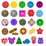 缝合的按钮传染媒介孩子时尚设计衣物辅助部件汇集衣裳剪裁例证套五颜六色 库存例证